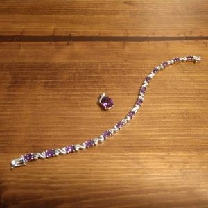Amethyst set 18k, and sterling silver
